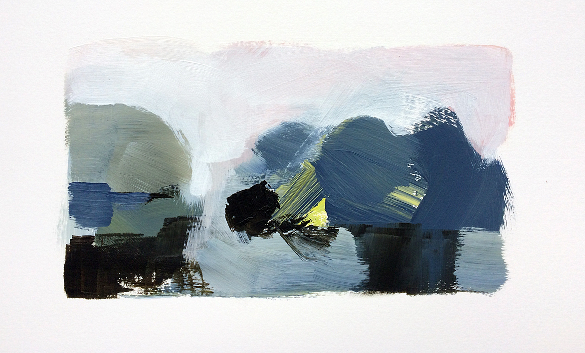 Artwork - Thames Path acrylic on card Drawing | Stephen Robson - acrylic on card