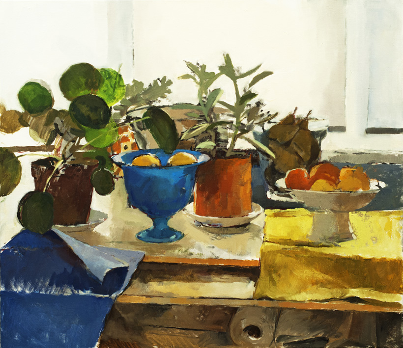 Artwork - Blue Bowl With Plants Oil on Canvas Painting | Stephen Robson - Oil on Canvas