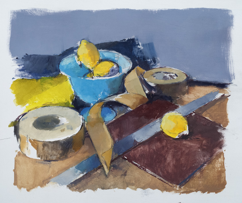 Artwork - Blue Bowl With Rule Oil on paper Painting | Stephen Robson - Oil on paper