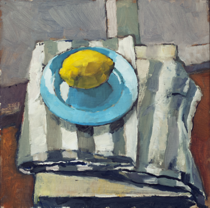 Artwork - Blue And Lemon Oil on panel Painting | Stephen Robson - Oil on panel
