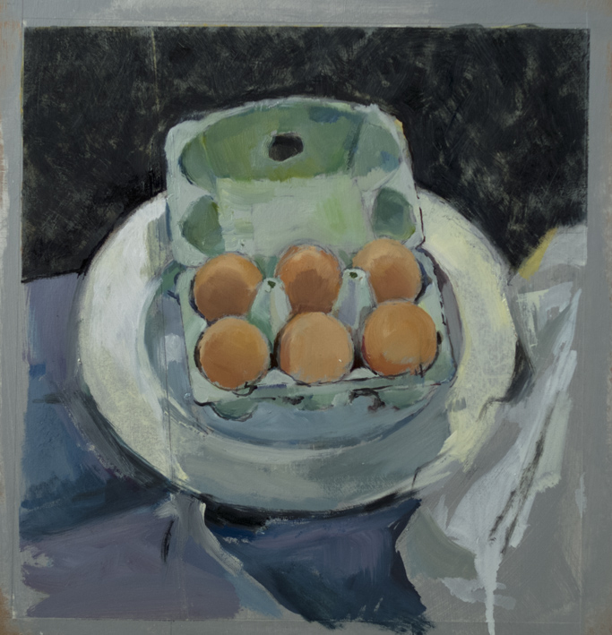 Artwork - Box Of Eggs oil on paper Painting | Stephen Robson - oil on paper