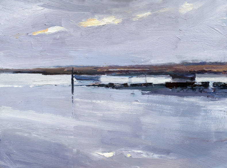 Artwork - Brancaster Morning Small Oil on board Painting | Stephen Robson - Oil on board