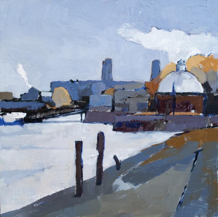 Artwork - Autumn Greenwich Pier Oil on Board Painting | Stephen Robson - Oil on Board
