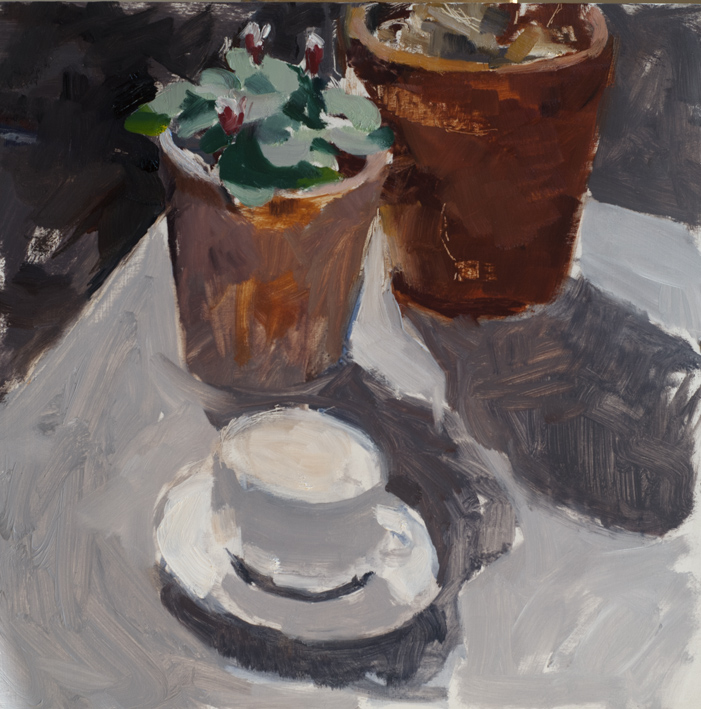 Artwork - Morning Cup Oil on panel Painting | Stephen Robson - Oil on panel