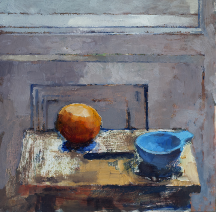 Artwork - Orange With Blue Measure Oil on panel Painting | Stephen Robson | Buy Today! - Oil on panel
