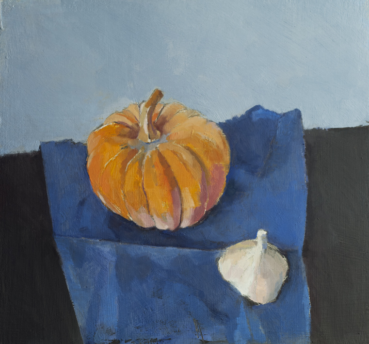 Artwork - Squash With Garlic On Blue Oil on panel Painting | Stephen Robson - Oil on panel