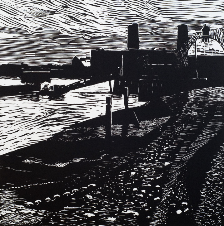 Artwork - Greenwich Pier  Linocut Print | Stephen Robson | Buy Today! - Linocut